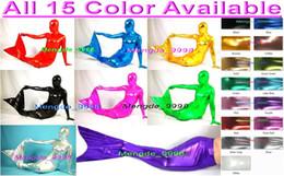 Costumi della sirena online-Costumi sexy della sirena New 15 colori Lycra metallizzato lucido vestito sirena tuta costumi unisex vestito mermaid vestito halloween costume cosplay M169