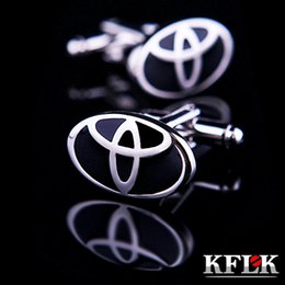Wholesale Logo Luxury Cars - KFLK 2016 Luxury Luxury car sign shape logo shirt cufflinks for mens Brand cuff buttons Black cuff links High Quality Jewelry