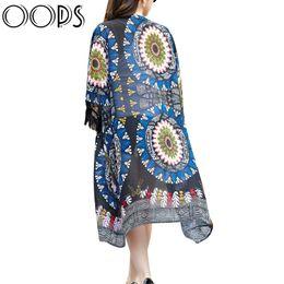 Wholesale Tribal Cardigans - Wholesale-OOPS 2016 Summer Gypsy Ethnic Style Retro Fringes Tassel Long Cardigans Kimono Cover Tribal Prints Boho Chiffon Shawl A1506130