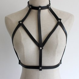 Wholesale Belt Lingerie Suspenders - New sexy Goth Lingerie Elastic Harness cage bra lingerie Bondage leather Body harness belt for women accessories