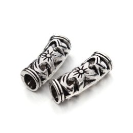 Wholesale Hollow Curved Tube - 10pcs lot  flower hollow Curved Tube Spacer Beads jewelry Charms for Jewelry Craft F1012 wholesale charm eyewear