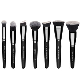 Wholesale Cosmetic Kits For Women - 7pcs Lot set Black Makeup Brushes Set For Women Cosmetic Tool Nylon Hair Brushes Wood Handle Professional Brushes Zoreya Brand