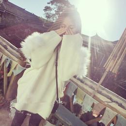 Wholesale Loose Long Knitwear - Wholesale- OFTBUY 2016 autumn winter fashion 100% real fox fur dark blue white pullovers turtleneck knitwear loose oversize sweater women