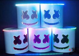 Wholesale White Latex Clothing - White mask helmet Hat gift clothing accessories LED lantern dance will mask Halloween mask
