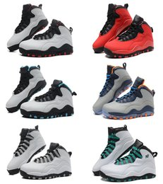 Wholesale Men Soccer Shoes Venom - 2017 air retro 10 X men Basketball Shoes steel Grey powder Blue Chicago Seattle Blue Ice Bobcats Infrared Venom green Sneakers top quality
