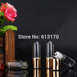 Wholesale Perfume Empty Sample Vials - Wholesale- 3ml Glass Roller Bottles,Metal bead Empty Roll on Bottle Clear Round Bottom Essential Oil,Perfume,Mini Sample Vial Cosmetic Pack