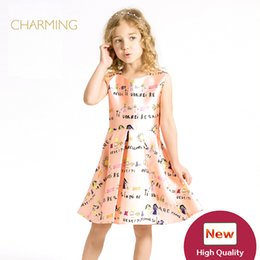 Wholesale China Dress Pattern - Brand one piece dress pattern Designer children s clothing Quality printed round neck sleeveless dress Best wholesale suppliers from china
