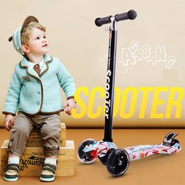 Wholesale Mini Scooter Toys - 3 Wheel T-Bar Kids Mini Skateboards Height Handle Kick Scooters With Max Glider Deluxe PU Flashing Wheels Scooters For Sale For Children