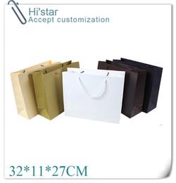 Wholesale White Kraft Paper Shopping Bags - Wholesale- 32*11*27CM 10pcs Free shipping white christmas organza promotion gift kraft Paper bags package shopping gift bag