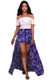 Wholesale Elegant Shorts Rompers - Mtmaiten Off Shoulder Jumpsuits High-Low Boho Style Elegant White Ruffle Floral Party Maxi Rompers Overalls for Women