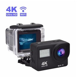 Wholesale Bicycle Cam - 2017-Action Camera 4K Wifi Waterproof 2.4G Remote Control Dual Screen Sport Camera 1080p Full HD Underwater Cam Bicycle Helmet Camera