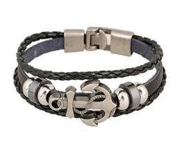 Wholesale Wholesale Strand Anchor Bracelet - Europe and the United States foreign trade export jewelry punk new leather bracelet manufacturers direct alloy ship anchor cowhide Bracelet