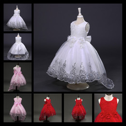 Wholesale Evening Gowns For Girls - 2017 New White Red Lace Tulle Flower Girl Dress Princess Pearl Ball Gown Party Wedding Girls Dresses For 2-12 Y Evening Gowns