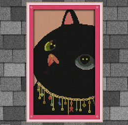 Wholesale Black Cat Cross Stitch - Black cat lovely cartoon painting, DIY handmade Cross Stitch Needlework Set Embroidery kits, counted printed on canvas DMC 14CT 11CT