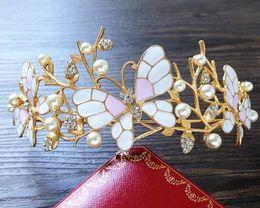 Wholesale Golden Alloy Hair - In 2017 the new DG Baroque crown Korean Mori sweet pink butterfly crown golden bride wedding dress hair headdress branches accessories