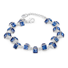 Wholesale Charm Square Patterns - Wholesale-Female Square Pattern Charm Bracelets&Bangles Silver Plated Resin Rhinestone Blue Wrap Bracelet Amp Bangles For Women Jewelry