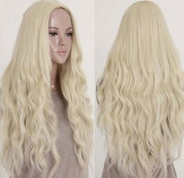 Wholesale Long Curly Blonde Pink Wigs - Women 's Fashion Long Curly Wigs Blonde Sexy Costume Party Cosplay Hair Synthetic Hair Wigs