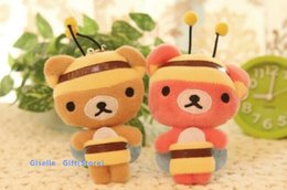 Wholesale Rilakkuma Bear Plush Doll - Wholesale- Super Kawaii 14CM Honey Bee Rilakkuma Bear Plush TOY DOLL Phone Strap DOLL Stuffed TOY Wedding Gift Bouquet Decor DOLL TOY
