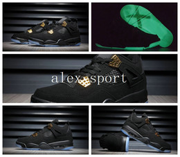 Wholesale Mesh Transparent - Wholesale Retro 4 Black Suede KAWS x Mens Basketball Shoes retro 4 black and gold Jumpman luminous transparent sneakers shoes Size 8-13