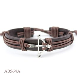 Wholesale Crossbow Charms - (10PCS lot) ANTIQUE SILVER Bronze 2 Sided Arrow Heart Crossbow CHARM Adjustable Leather Punk Cuff Bracelet Jewelry