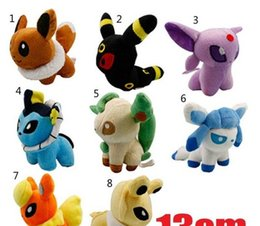 Wholesale Glaceon Leafeon Stuffed Animals - New 8 Styles Poke Eevee Plush Toys 5 inch Eevee Umbreon Espeon Jolteon Vaporeon Flareon Glaceon leafeon animals stuffed doll toy