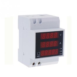 Wholesale Power Energy Meter - Wholesale- AC 80-300V 0-100.0A ammeter voltmeter Din rail LED volt amp meter display active power power factor time Energy voltage current