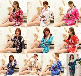 Wholesale Pajama Summer Women - 10 colors Kimono Bath Robe Women Satin Pajama Summer Floral Sleepwear Fashion silk floral pajamas for women Women Solid Royan Silk Robe D827