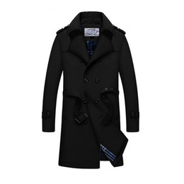 Wholesale thick sash belt - Wholesale- new autumn and winter men's slim pattern double breasted trench coat turn down collar parka with belt casual business outwear