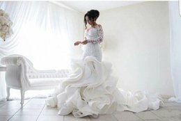 Wholesale Brial Dresses - Long Sleeve Mermaid Wedding Dresses 2017 Sexy Sheer Back Lace Organza Ruffles Sweep train Brial Gown vestido de noiva