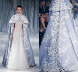 Wholesale Wedding Bridal Embroidery Jacket - Paolo Sebastian 2018 Wedding Jacket Wrap For Bride High Neck Wedding Cape Embroidery Satin Cloak Jacket Bridal Bolero Shrug Dubai Abaya