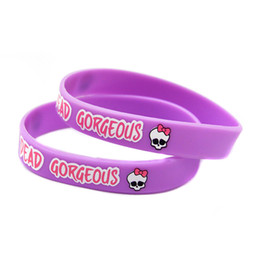 Wholesale Silicon Bracelets Printing - Wholesale 100PCS Lot Printed Monster High Silicon Bracelet, Wear This Latex-Free Wristband To Support The One You Love