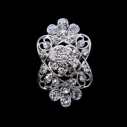 Wholesale Wholesale Small Brooches - Rhodium Silver Plated Rhinestone Crystal Flower Small Pin Brooch