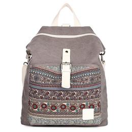 Wholesale Vintage Cotton Shoulder Bags For Women - Wholesale- Canvas Printing Backpack Women School Bags for Teenage Girls Cute Bookbags National Shoulder Backpacks Female Crossbody Bags