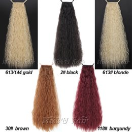 """Wholesale Long Auburn Ponytail Extension - Wholesale- 24""""(60cm) 110g-120g Long Kinky Curly Taro Synthetic Ribbon Ponytail Clip In Hair Extensions Hairpieces 5Colors"""
