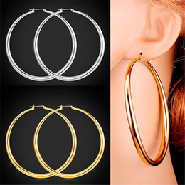 Wholesale Dangling Hoop - U7 Classic Simple Big Round Hoop Dangle Earrings 18K Gold Platinum Plated Basketball Wives Fashion Jewelry Gift for Women E6391