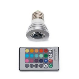 Wholesale Changing Spotlight Bulbs - Wholesale- E27 RGB LED Spotlight 3W LED Lamp 85-265V LED RGB Light Bulb High Power 16 Color Change Home Decoration IR Remote Controller