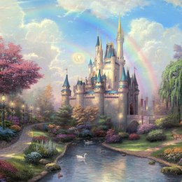 Wholesale Rainbow Art - Castle Rainbow Lake DIY Diamond Painting Embroidery 5D Cross Stitch Crystal Square Unfinish Home Bedroom Wall Art Decor Craft Gift