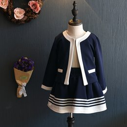 Wholesale Girl Children Princess Coat - 2017 kids baby girls clothes sets girl princess spring autumn navy coat +skirt 2pcs children korean style clothing wholesale