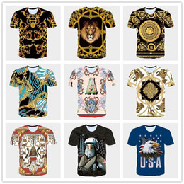 Wholesale White Cotton Eagle Print Shirt - 2017 Summer new 3D T shirts mens tshirt Golden Flowers lions blue stripe letter American USA flag Eagle printed men's Short Sleeve T-Shirts