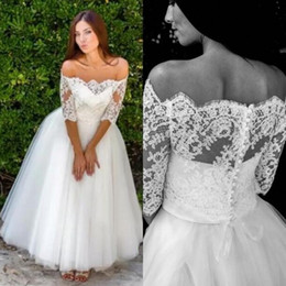 Wholesale Tea Length Off White Skirt - Elegant 2017 Lace Off The Shoulder Top Tulle Skirt Tea Length Wedding Dresses Vintage Cheap Half Sleeves Bridal Gowns Country EN8095