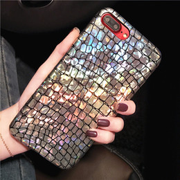 Wholesale iphone crocodile leather - For iPhone X 8 7 6 6s Plus Holo Croc Cases Glitter Luxury Laser Crocodile Leather PC Cover Case