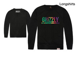 Wholesale Grizzly Long - GRIZZLY Diamond Supply T Shirts Hip Hop Men T-shirt Skateboard Long Sleeve Cotton Tops Tee Free shipping
