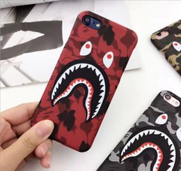 Wholesale Iphone 5s Red - NEW Hot Top Quality Cool Fashion Shark Case For iPhone8 8plus 7 6 6s Plus Shark Army Phone Case Cover For iPhoneX 6S 5 5S SE Matte