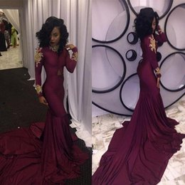 Wholesale Long Sleeved Gold Prom Dresses - Sexy Long Sleeved Burgundy Prom Dresses Mermaid Style 2017 Chiffon Special Occasion Girls Pageant Dress For Evening