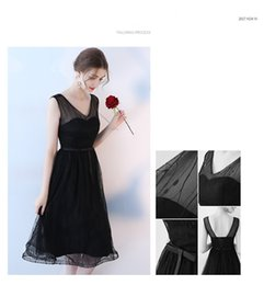 Wholesale Evening Dress Thin Straps - Black noble and elegant sexy strap dress temperament was thin short V-party banquet evening dress