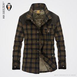Wholesale British Dress Shirts - Wholesale- 2016 Winter Thick Plaid stripe Dress Shirts Long-Sleeve Men Cotton Casual Quality Fleece Wear Male Army Fashion British Style