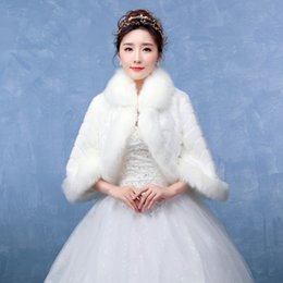 Wholesale Ladies White Shrugs - 2017 Off White Ivory Bridal Wraps Winter Wedding Cape Flare Sleeve Mink Faux Fur Elegant Ladies Evening Jackets Wedding Shawl Shrug Boleros