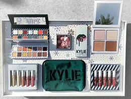 Wholesale Nice Holidays - Kylie Jenner Kyshadow Kit Xmas Holiday Collection Set Naughty & Nice Eyeshadow The Wet Set Velvet Liquid Lipsticks & Lip Liner Makeup Box