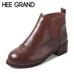 Wholesale Brogue Boots - HEE GRAND Vintage Women Boots Slip On Platform Ankle Boots New Fashion Oxfords Ladies Flats Casual Brogue Shoes Woman XWX3665