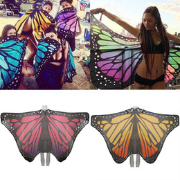 Wholesale Adult Butterfly Wings - 19ms Butterfly Peacock Wing Beach Towel Multi Function Tippet Chiffon Skirt Cover Up Yoga Mat Light Portable Loop Towels Hot Sale